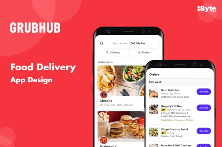 grubhub food delivering and ordering app